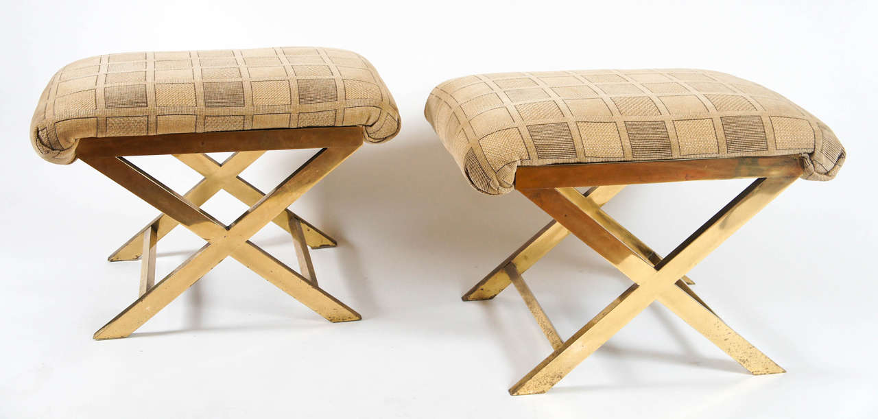 Chic Pair of Vintage Brass X-frame Benches or Stools 3