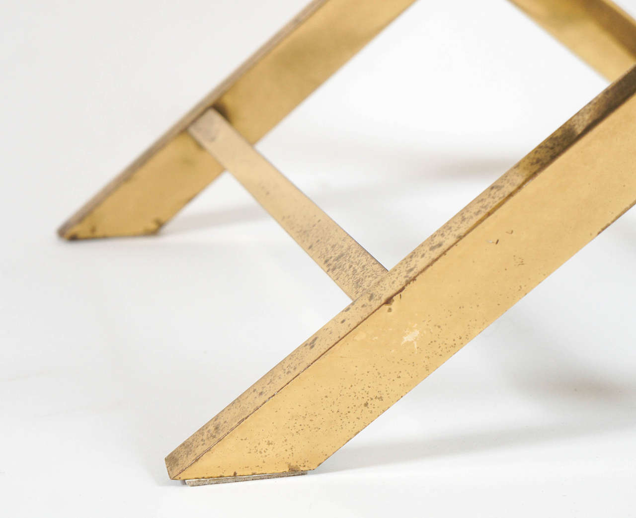 Chic Pair of Vintage Brass X-frame Benches or Stools 8
