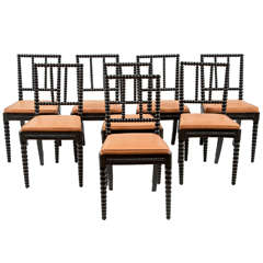 Set of Eight Danish Spool Chairs