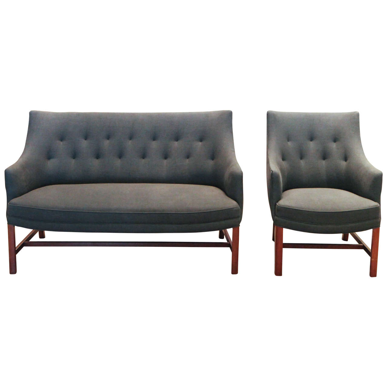 frits henningsen loveseat and chair, denmark, 1940s at 1stdibs