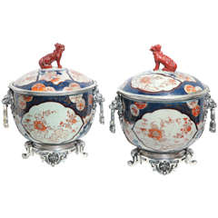 Pair of Imari Porcelain and Silvered Bronze Covered Bowl Centerpieces