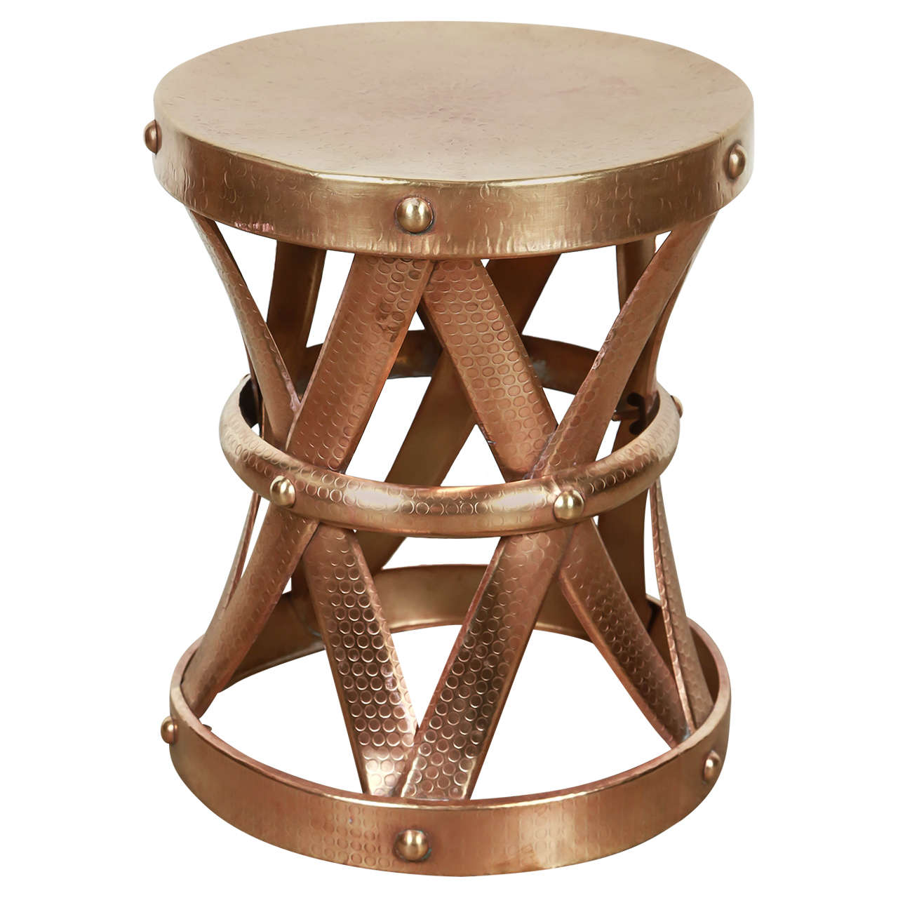 Mid Century Vintage Polished Brass Stool 1950s For Sale