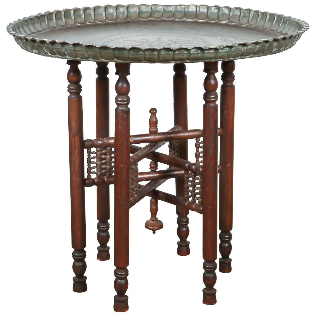 Persian Mameluke Tray Table On Wooden Folding Stand