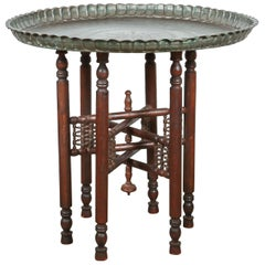 Persian Mameluke Tray Table on Wooden Folding Moorish Stand