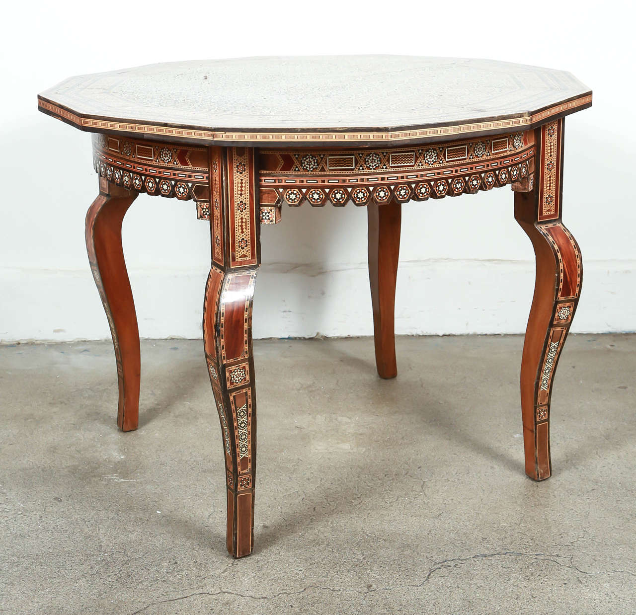 Inlaid syrian octagonal side coffee table at stdibs