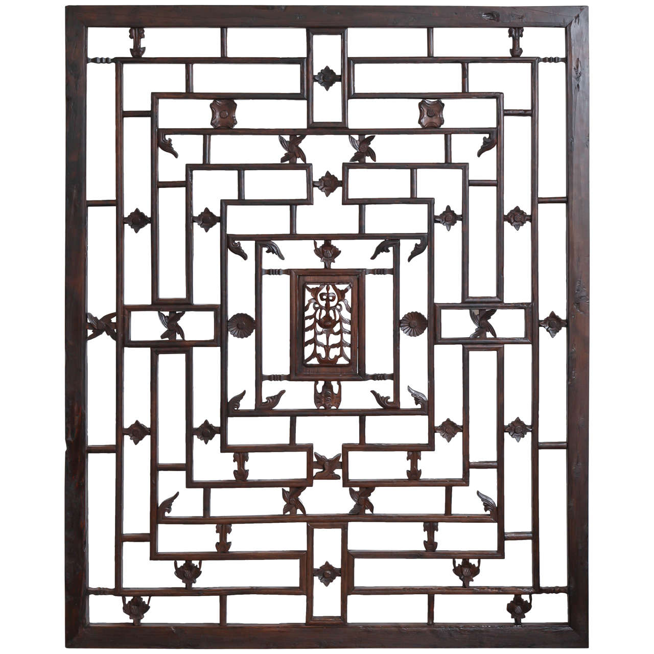 Large Lattice Panel With Carved Accents Late 19th Century