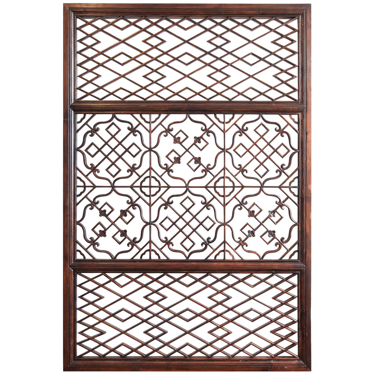 Lattice screen panel with carved accents at 1stdibs for Lattice screen
