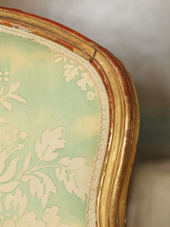 Giltwood Louis XV Fauteuil For Sale