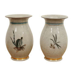 Pair of Crackle Vases by Royal Copenhagen