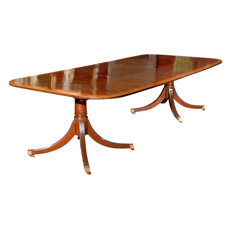 double pedestal mahogany dining table w rosewood banding at 1stdibs