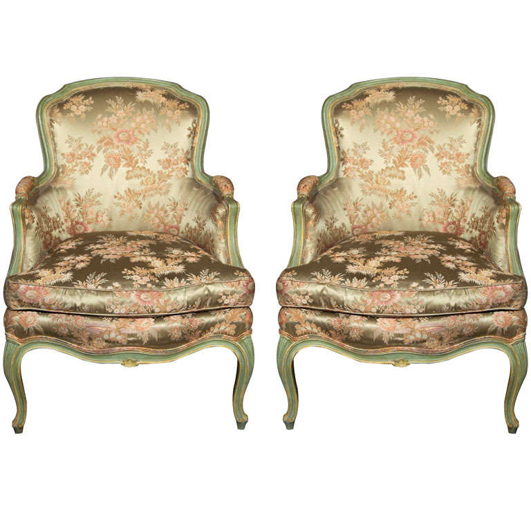 Pair of Louis XV Style Paint Decorated Bergere Chairs
