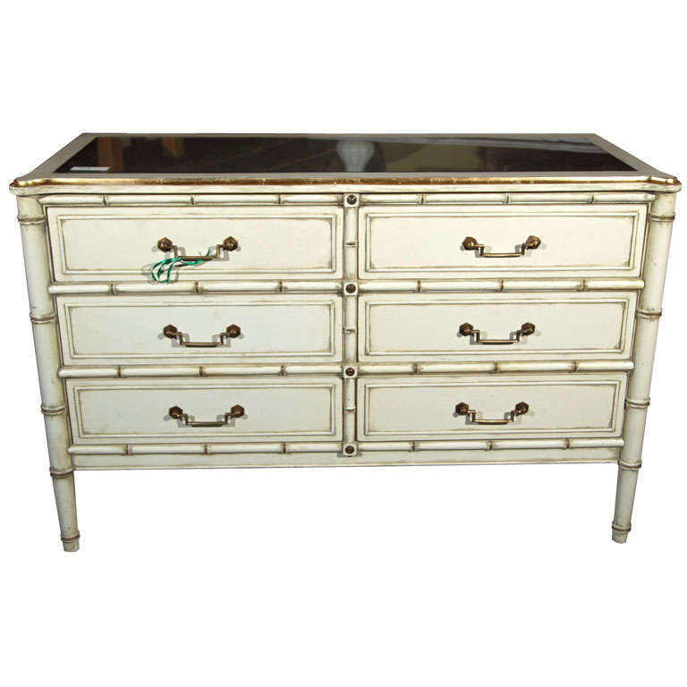 Hollywood Regency Style Silver Leaf Glass Top Faux Bamboo Dresser Chest Commode