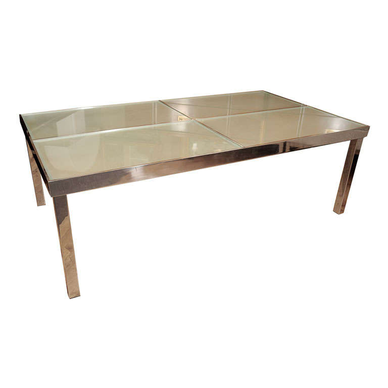 Coffee Table Chrome And Frosted Glass At 1stdibs