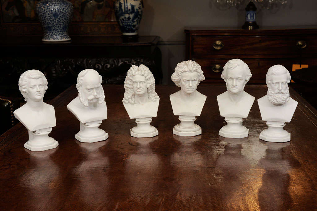 Set of Six Parian Ware Busts of Notable 18th and 19th Century Germans 10