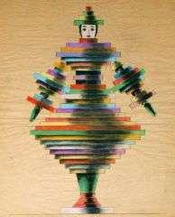 "Amazing Set of 1940s ""Constructivist Couture"" Folk Art Drawings"