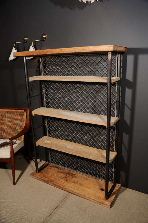 Reclaimed And Fabricated Industrial Bookcase Shelving