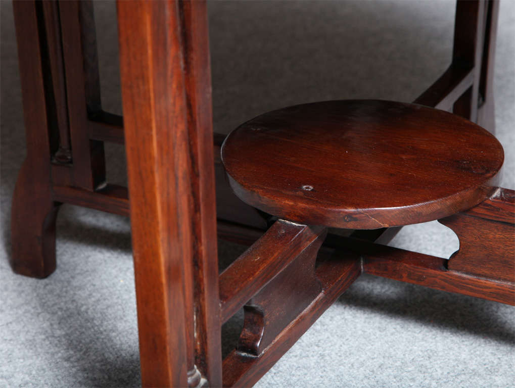 1930s Art Deco Shanghai Coffee Table Made of Varnished Elm with Quadripod Base In Good Condition For Sale In Yonkers, NY