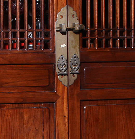 Elmwood Kitchen Cabinet Door Styles: Anglo-Chinese Large Elmwood Cabinet With Accordion Doors