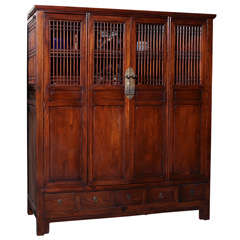 Anglo-Chinese Large Elmwood Cabinet with Accordion Doors, Turn of the Century
