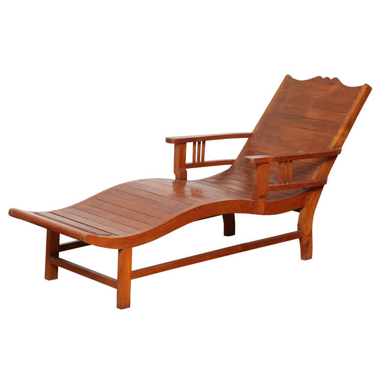 Vintage Teak Lounge Chair In The Dutch Colonial Style From The 1940s For  Sale