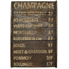 French Champagne menu sign