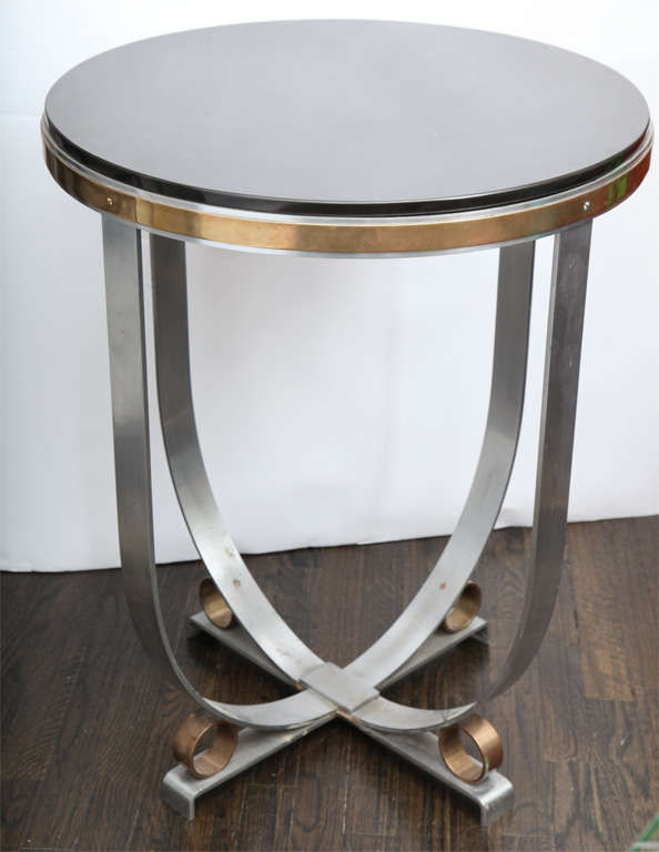Walter Kantack Table Art Deco Polished Steel and Brass with Onyx Top, 1920s In Good Condition For Sale In New York, NY