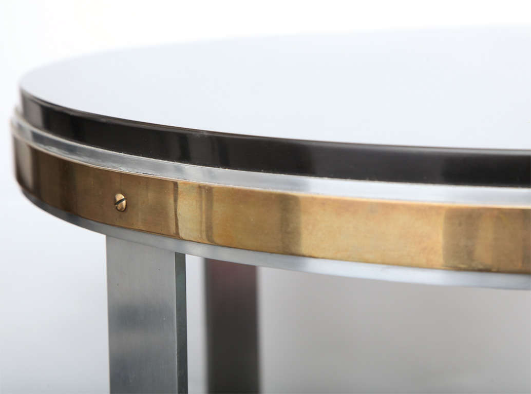 Walter Kantack Table Art Deco Polished Steel and Brass with Onyx Top, 1920s For Sale 2