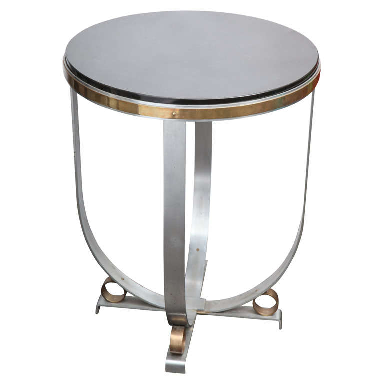 Walter Kantack Table Art Deco Polished Steel and Brass with Onyx Top, 1920s For Sale