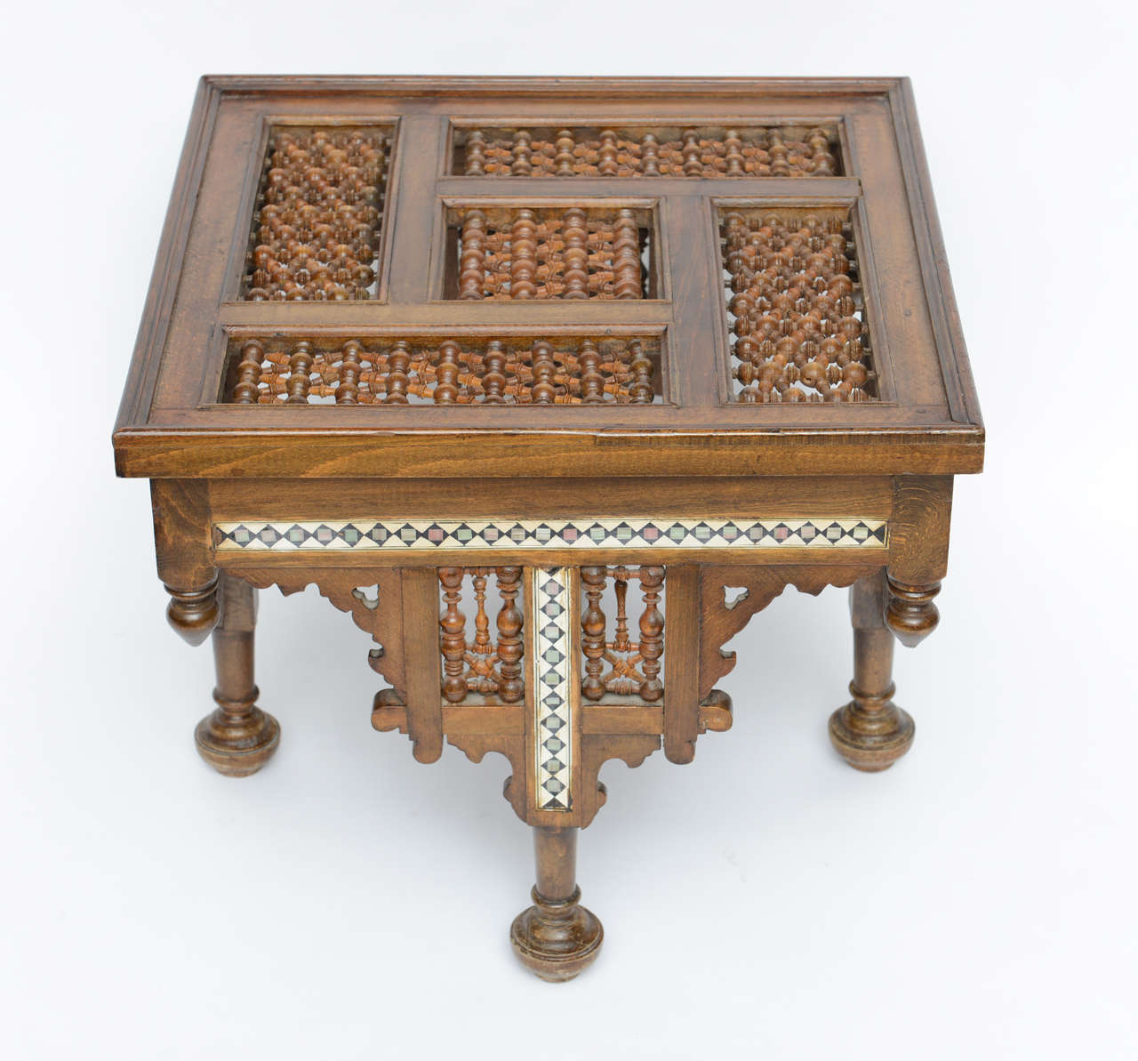 Moroccan Table Inlaid with Bone & Ivory, 19th Century image 3