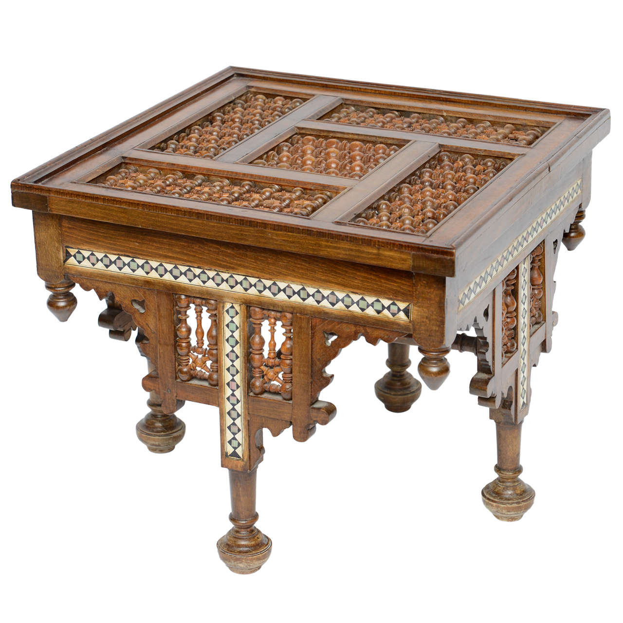 Moroccan Table Inlaid with Bone & Ivory, 19th Century