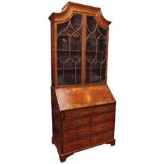 English Regency Inlaid Bookcase Secretary