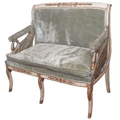 French 1st Empire Painted and Parcel Gilt Settee
