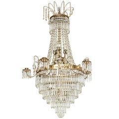 Antique Swedish Crystal Chandelier  Mid 19th Century