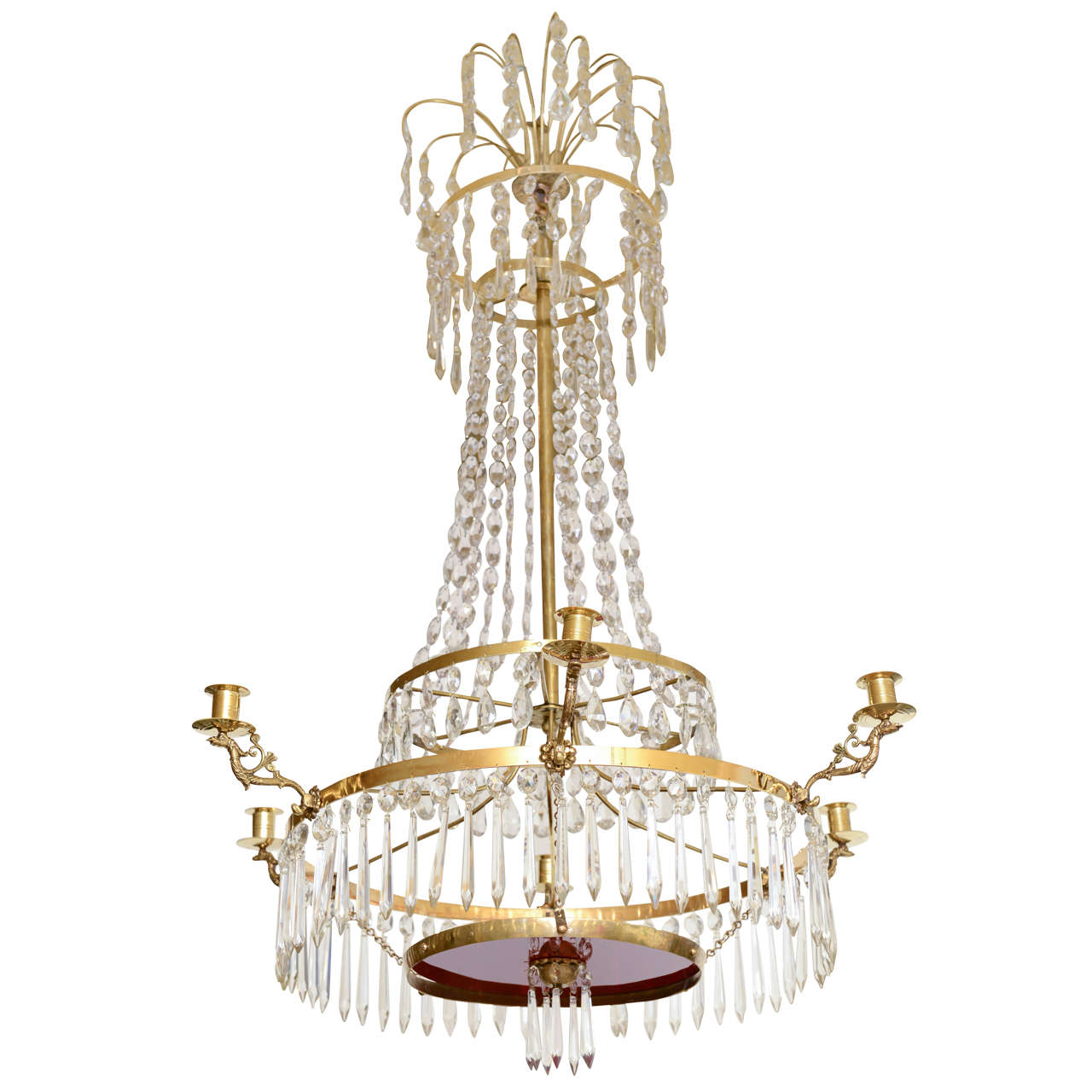 19th Century Antique Baltic Crystal Chandelier For Sale At