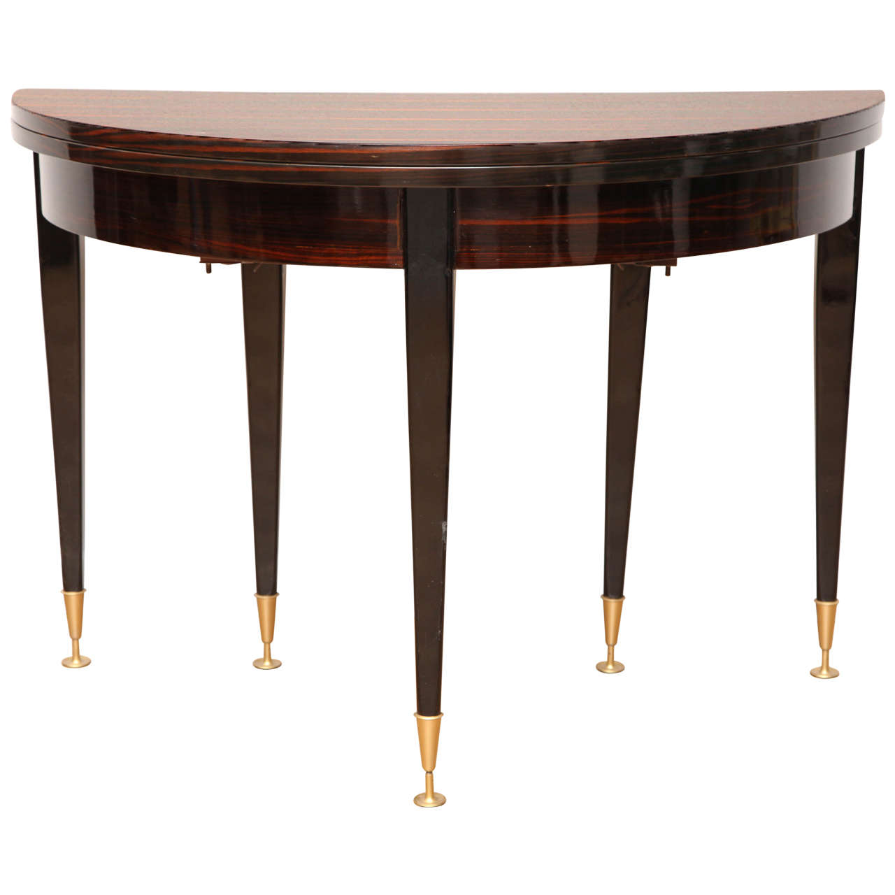 Fabulous art deco round expandable dining table at 1stdibs - Console table that expands for dining ...