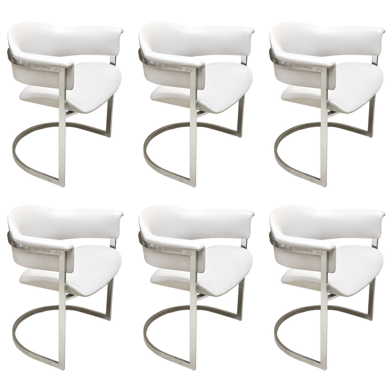Set of Six Vintage Grey Leather and Chrome Italian Dining  : X from www.1stdibs.com size 1280 x 1280 jpeg 73kB