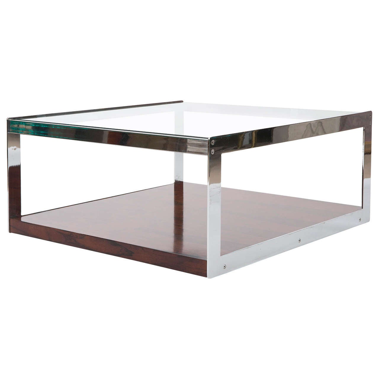Merrow And Associates Rosewood Chrome Glass Coffee Table England Circa 1970 For Sale At 1stdibs