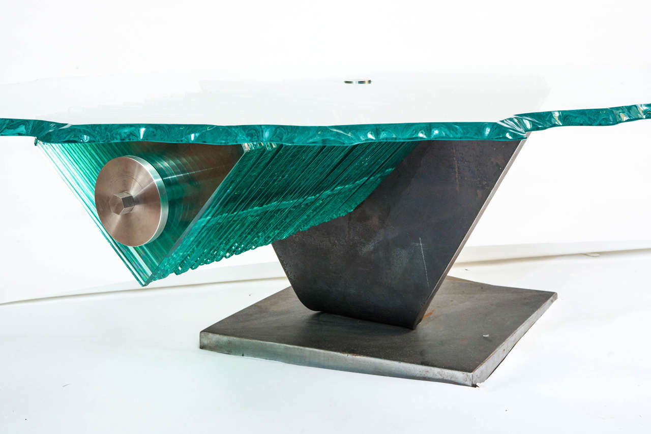Danny Lane Coffee Table Steel And Glass England Circa 1980 For Sale At 1stdibs