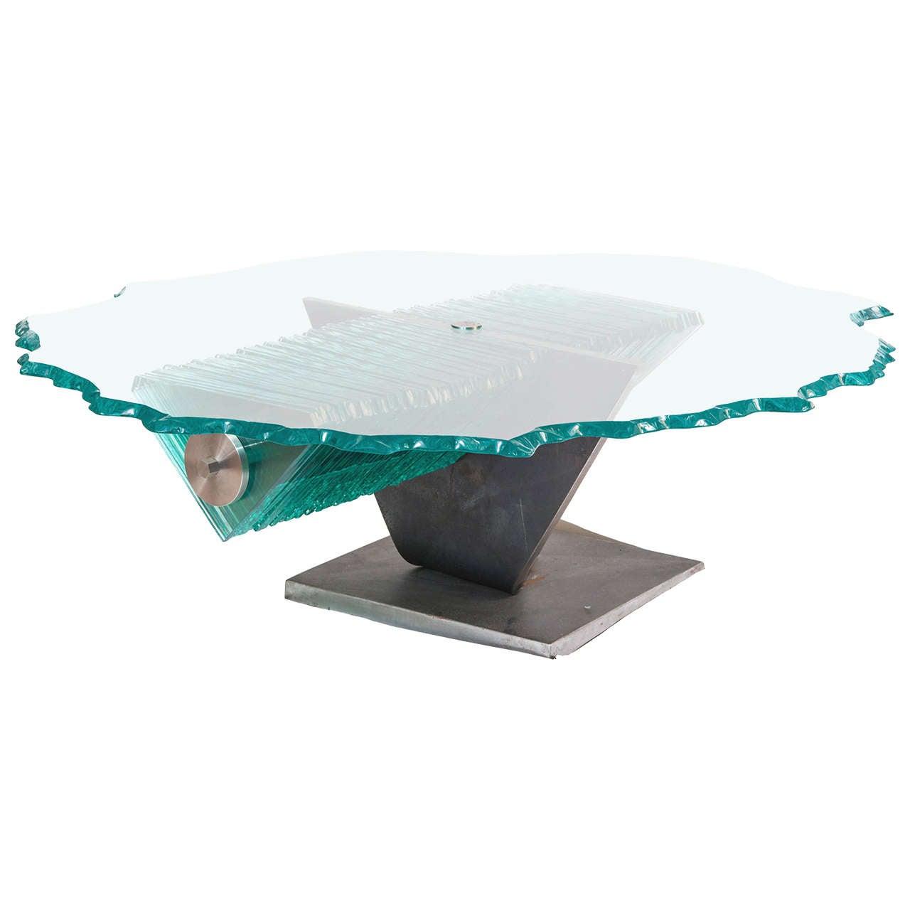 Danny Lane coffee table, steel and glass, England circa 1980