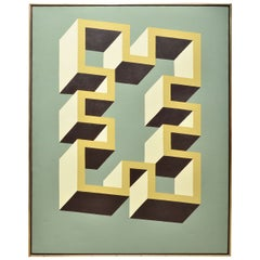 "Abstract Geometric ""3-D"" Greek Key Painting, Signed by Adrian Murphy"