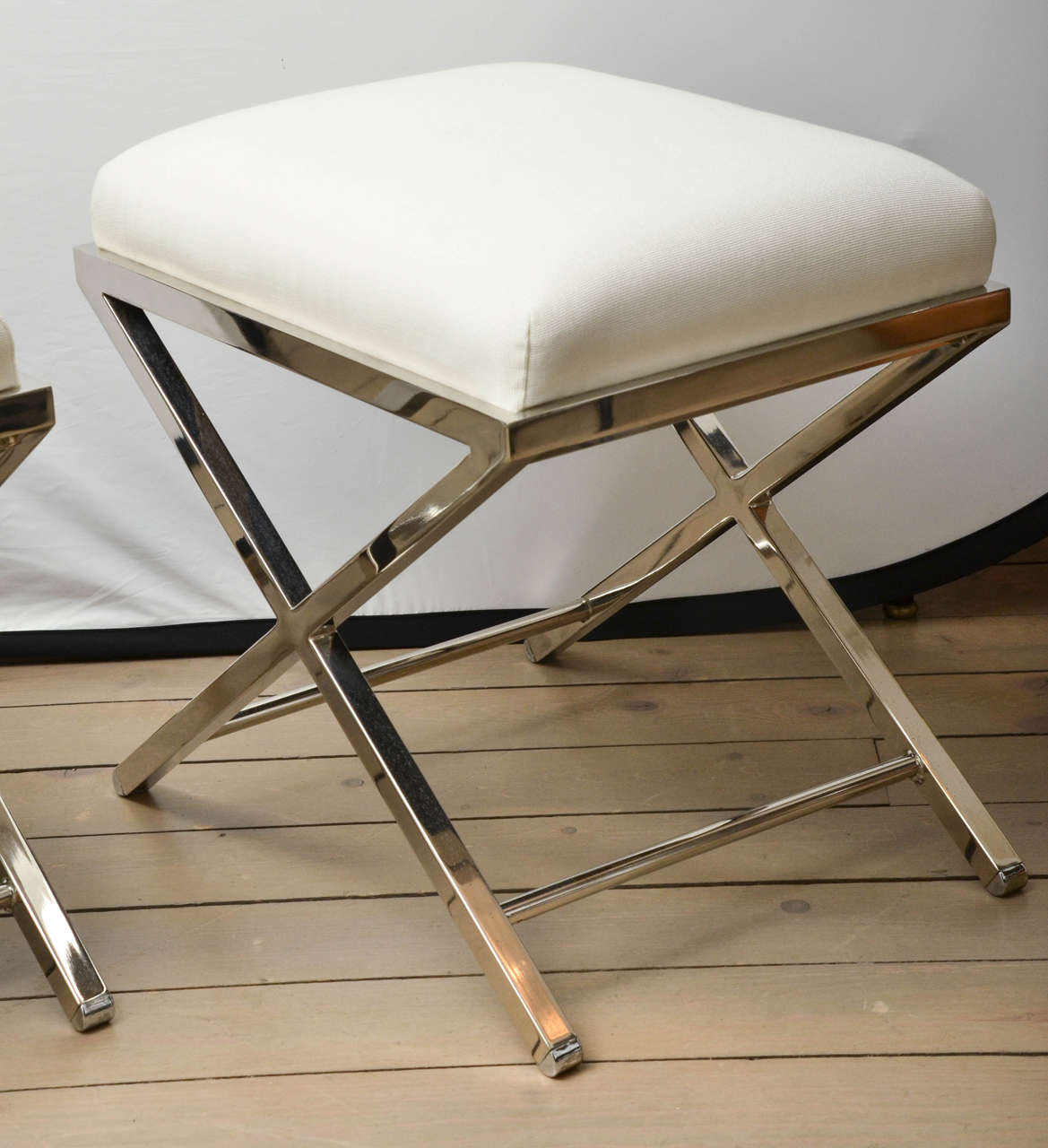 Pair Of White Upholstered Chrome X Base Benches At 1stdibs