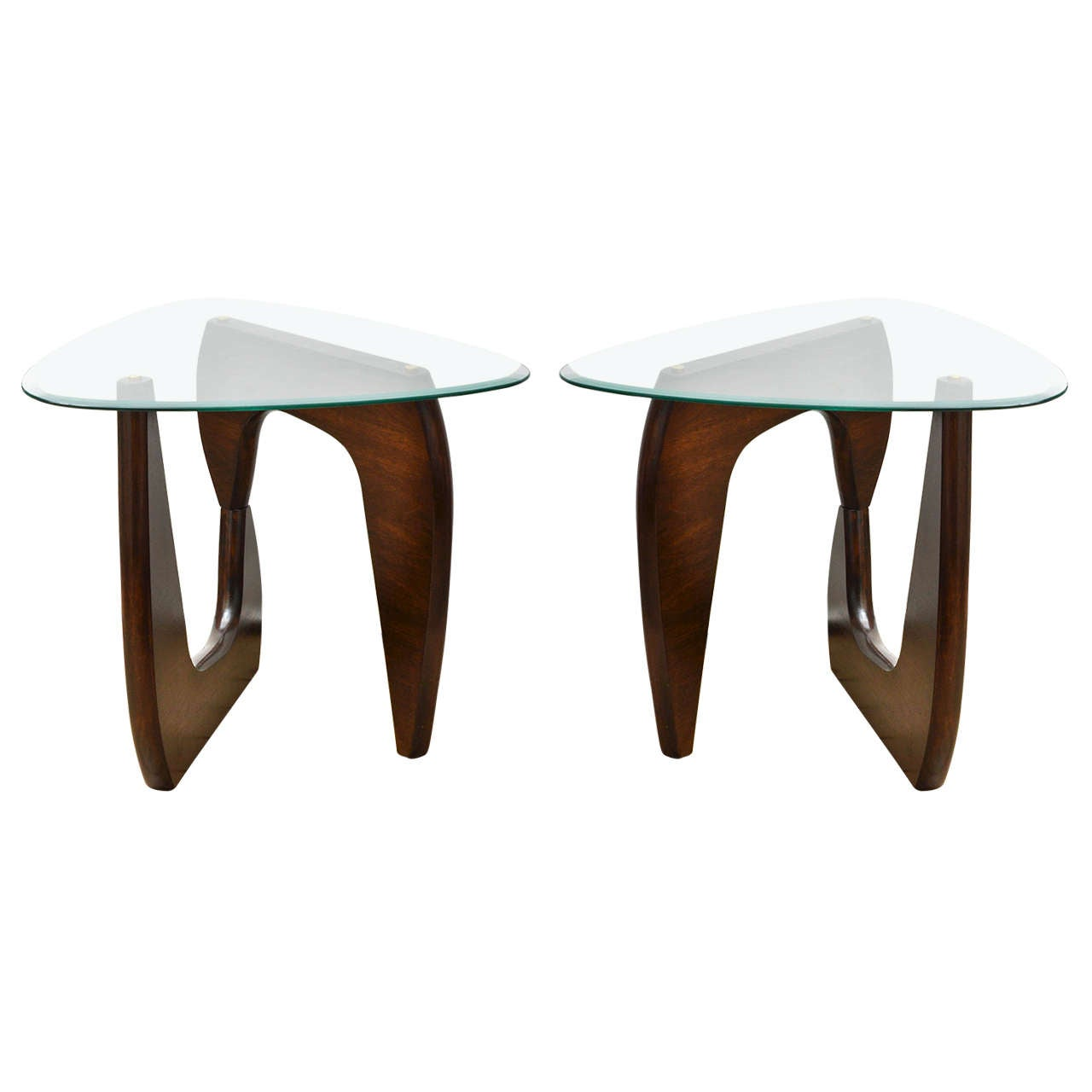 pair of wood base glass triangular top tables at stdibs - pair of wood base glass triangular top tables