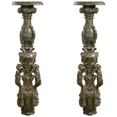 Pair of Italian Bronze Standing Candlesticks