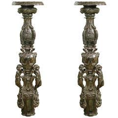 Pair of Italian Bronze Standing Candlesticks