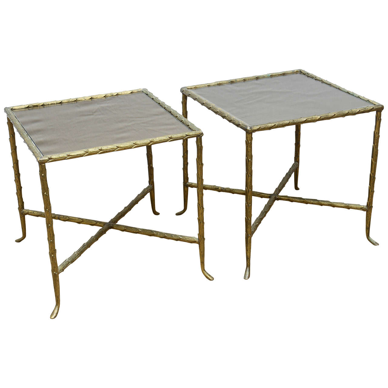 Pair Of Bagues Style Bronze U0026 Bronze Mirrored Mid Century Modern Side Tables