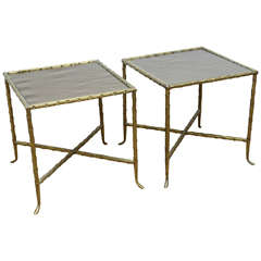Pair of Bagues Style Bronze and Bronze Mirrored Side Tables
