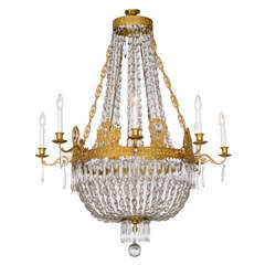 Fine French Empire Eight-Light Ormolu and Crystal Chandelier