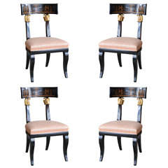 Set of Four Baltic Neoclassic Ebonized and Penwork Klismos Chairs
