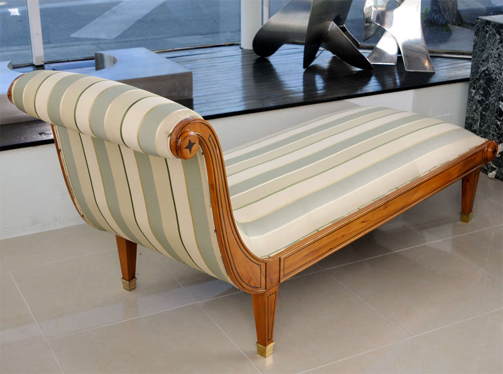 A fine andre arbus inlaid sycamore and ebony chaise for Chaise francaise