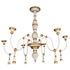 A Vintage Italian Gilt and Painted Six Light Chandelier